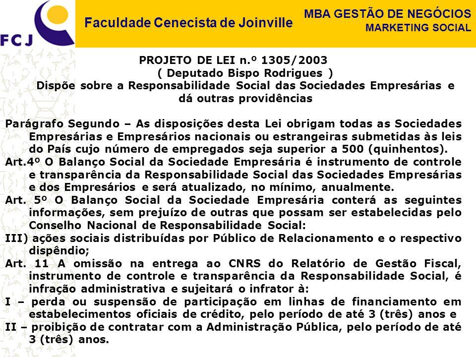 Faculdade Cenecista de Joinville MBA GESTÃO DE NEGÓCIOS MARKETING SOCIAL PROJETO DE LEI n.º 1305/2003 ( Deputado Bispo Rodrigues ) Dispõe sobre a Resp