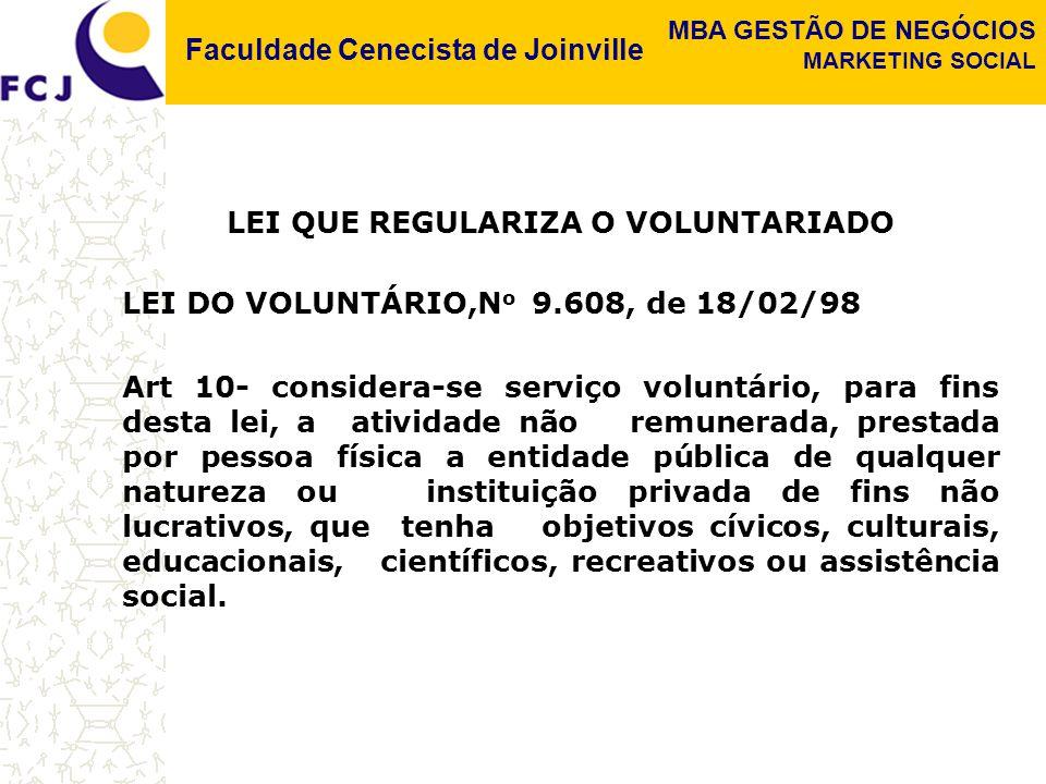 Faculdade Cenecista de Joinville MBA GESTÃO DE NEGÓCIOS MARKETING SOCIAL LEI QUE REGULARIZA O VOLUNTARIADO LEI DO VOLUNTÁRIO,N o 9.608, de 18/02/98 Ar