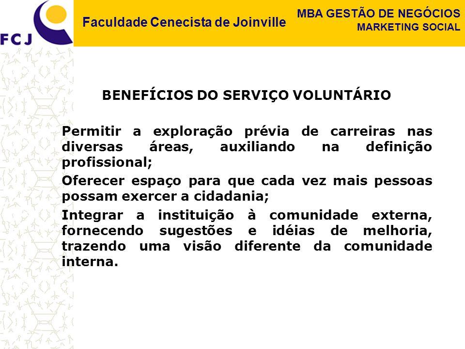 Faculdade Cenecista de Joinville MBA GESTÃO DE NEGÓCIOS MARKETING SOCIAL BENEFÍCIOS DO SERVIÇO VOLUNTÁRIO Permitir a exploração prévia de carreiras na