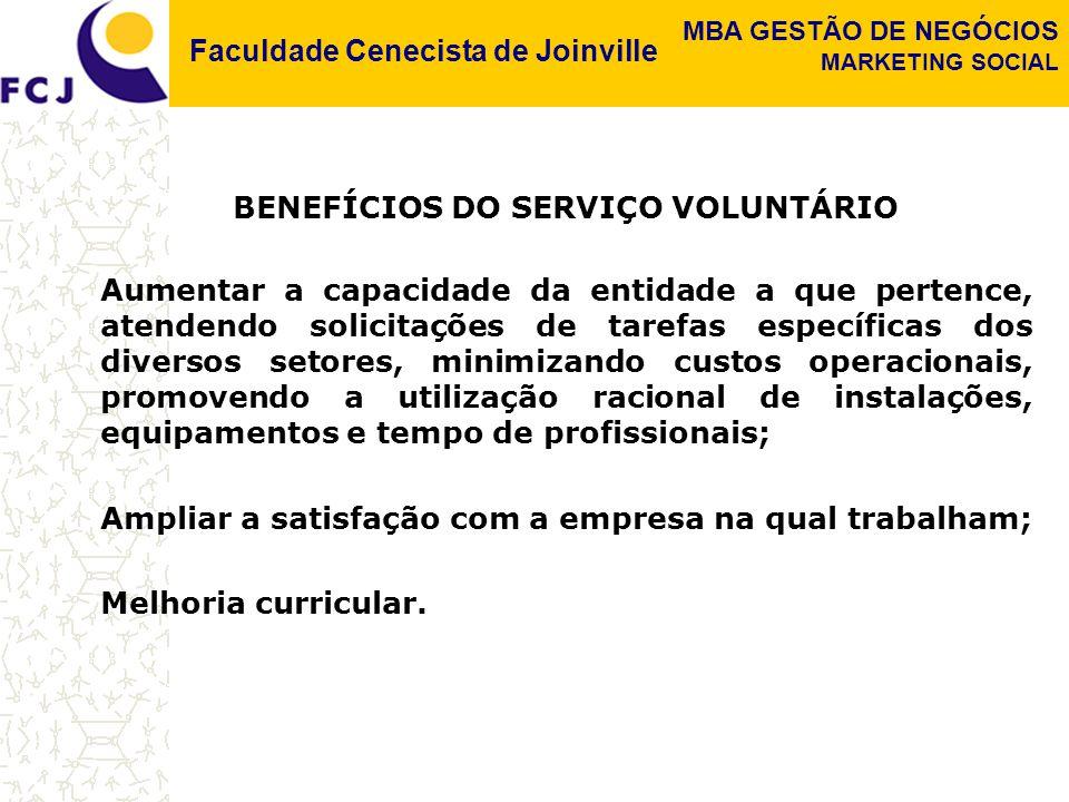 Faculdade Cenecista de Joinville MBA GESTÃO DE NEGÓCIOS MARKETING SOCIAL BENEFÍCIOS DO SERVIÇO VOLUNTÁRIO Aumentar a capacidade da entidade a que pert