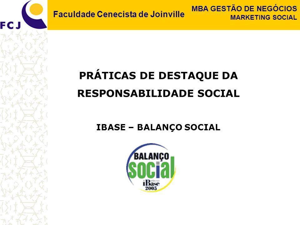 Faculdade Cenecista de Joinville MBA GESTÃO DE NEGÓCIOS MARKETING SOCIAL Devido à crescente pressão por maior responsabilidade das empresas, posso prever o dia em que além do balanço financeiro anual, certificado por auditores independentes, as empresas terão que publicar um Balanço Social igualmente certificado.