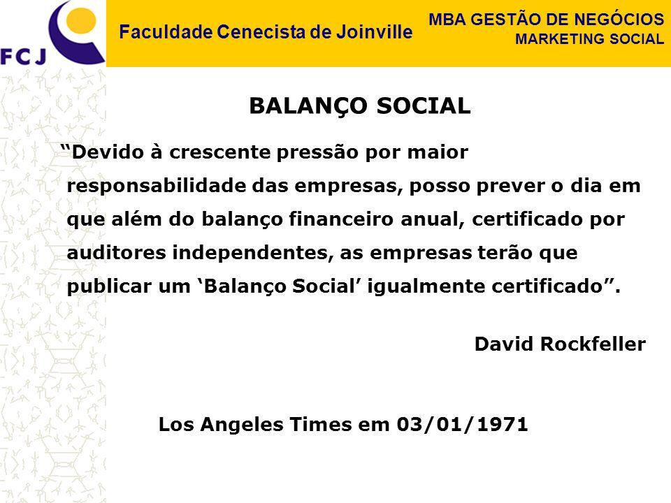 Faculdade Cenecista de Joinville MBA GESTÃO DE NEGÓCIOS MARKETING SOCIAL DÉCADA DE 20 Começa a discussão sobre balanço social nos Estados Unidos.