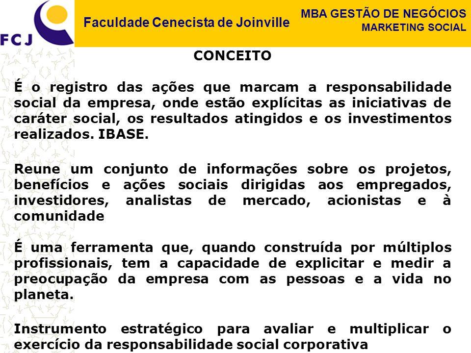 Faculdade Cenecista de Joinville MBA GESTÃO DE NEGÓCIOS MARKETING SOCIAL OBJETIVOS Demonstrar de onde vêm os recursos da organização, onde são aplicados e quais são as atividades desenvolvidas Esclarecer como a instituição se relaciona com seu quadro de funcionários Demonstrar a preocupação da organização com a promoção da diversidade em seus quadros Apresentar em que nível está a participação interna, como anda a democracia no dia-a-dia institucional