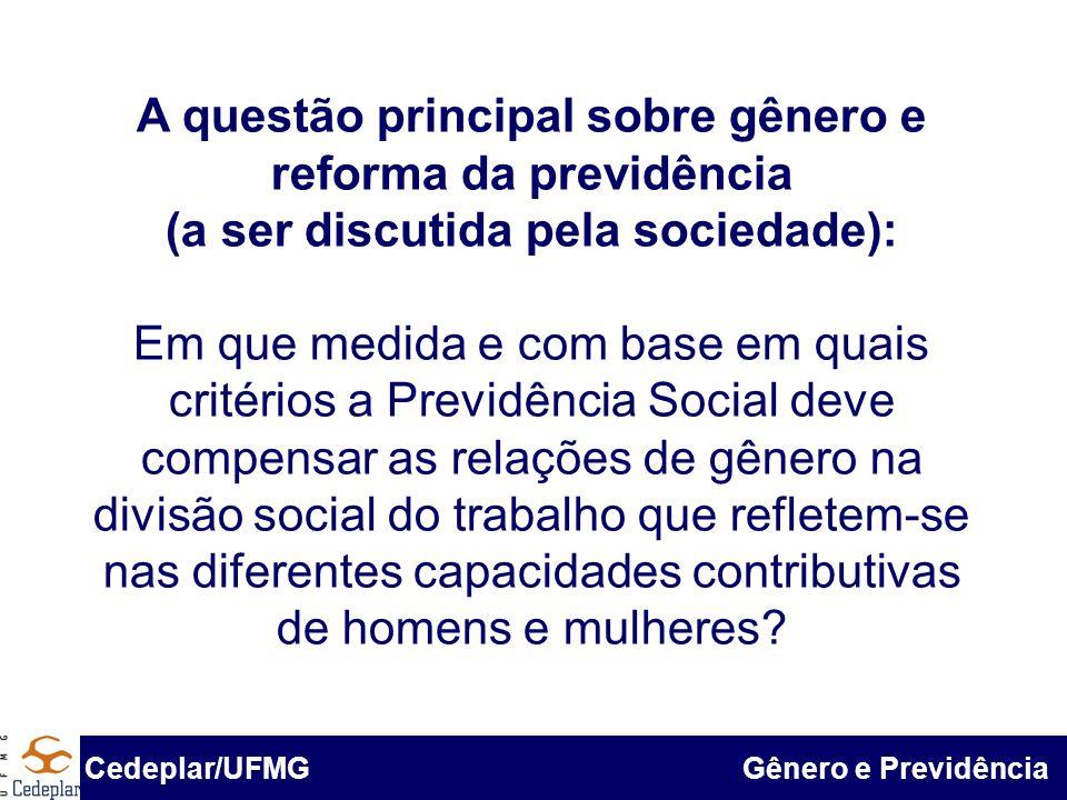 BID & Cedeplar/UFMG A questão principal sobre gênero e reforma da previdência (a ser discutida pela sociedade): Em que medida e com base em quais crit
