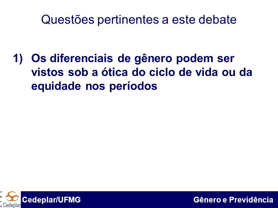 BID & Cedeplar/UFMG Questões pertinentes a este debate 1)Os diferenciais de gênero podem ser vistos sob a ótica do ciclo de vida ou da equidade nos pe