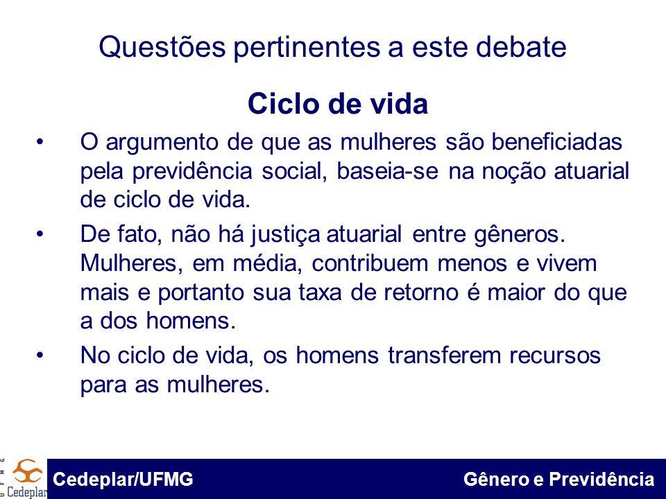 BID & Cedeplar/UFMG Questões pertinentes a este debate Ciclo de vida O argumento de que as mulheres são beneficiadas pela previdência social, baseia-s