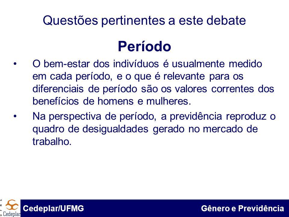 BID & Cedeplar/UFMG Questões pertinentes a este debate Período O bem-estar dos indivíduos é usualmente medido em cada período, e o que é relevante par