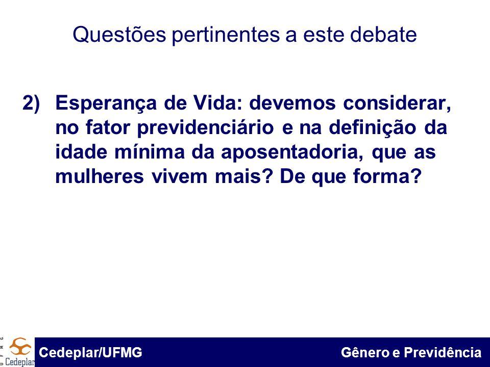 BID & Cedeplar/UFMG Questões pertinentes a este debate 2)Esperança de Vida: devemos considerar, no fator previdenciário e na definição da idade mínima