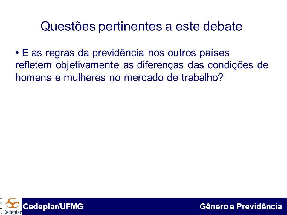 BID & Cedeplar/UFMG Questões pertinentes a este debate Cedeplar/UFMG Gênero e Previdência E as regras da previdência nos outros países refletem objeti