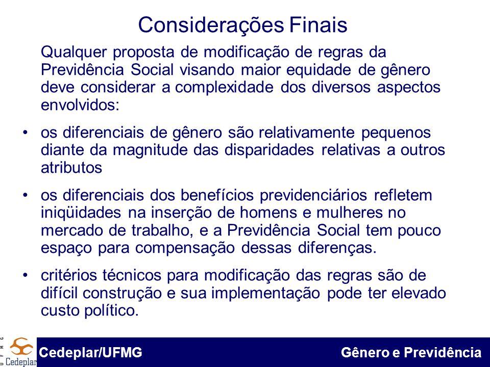 BID & Cedeplar/UFMG Considerações Finais Cedeplar/UFMG Gênero e Previdência Qualquer proposta de modificação de regras da Previdência Social visando m
