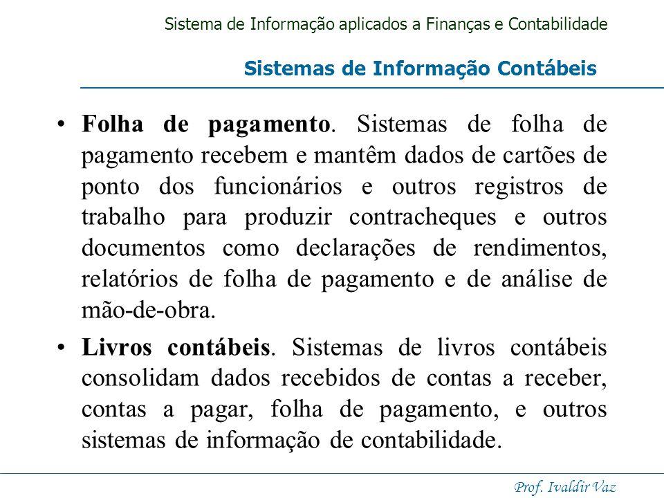 Sistema de Informação aplicados a Finanças e Contabilidade Prof. Ivaldir Vaz Controle de estoque. Esses sistemas acompanham e monitoram os níveis de e