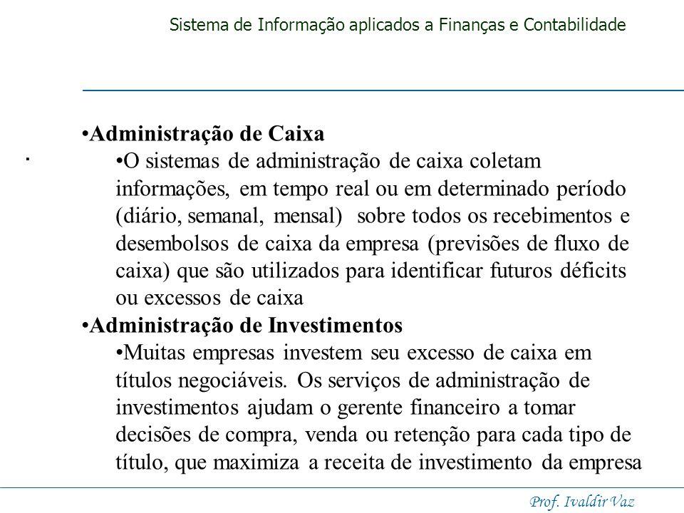 Sistema de Informação aplicados a Finanças e Contabilidade Prof. Ivaldir Vaz Sistemas de Informação Financeira Sistemas de Informação Financeira Siste