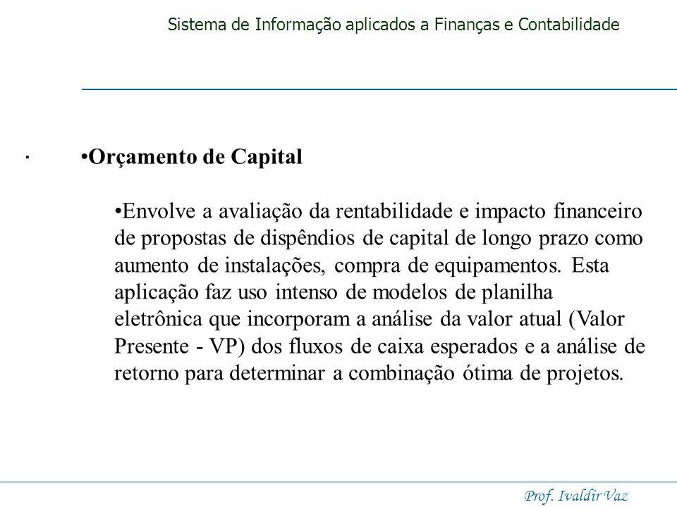 Sistema de Informação aplicados a Finanças e Contabilidade Prof. Ivaldir Vaz. Administração de Caixa O sistemas de administração de caixa coletam info