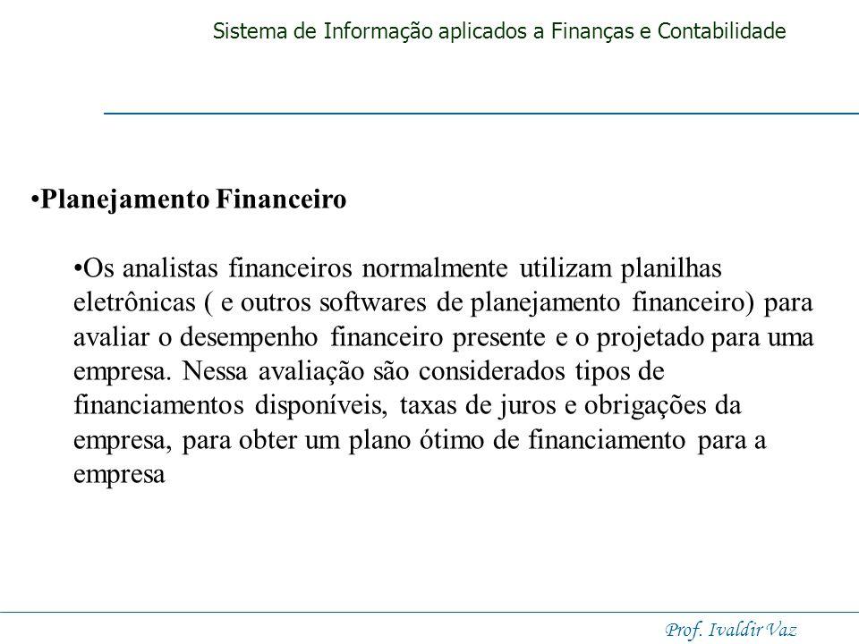 Sistema de Informação aplicados a Finanças e Contabilidade Prof. Ivaldir Vaz. Orçamento de Capital Envolve a avaliação da rentabilidade e impacto fina