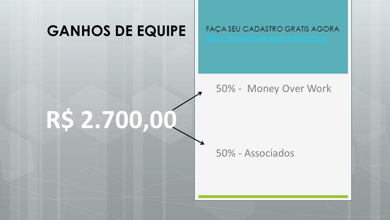 R$ 2.700,00 50% - Money Over Work 50% - Associados GANHOS DE EQUIPE FAÇA SEU CADASTRO GRATIS AGORA http://moneyoverwork.com/wgyn http://moneyoverwork.