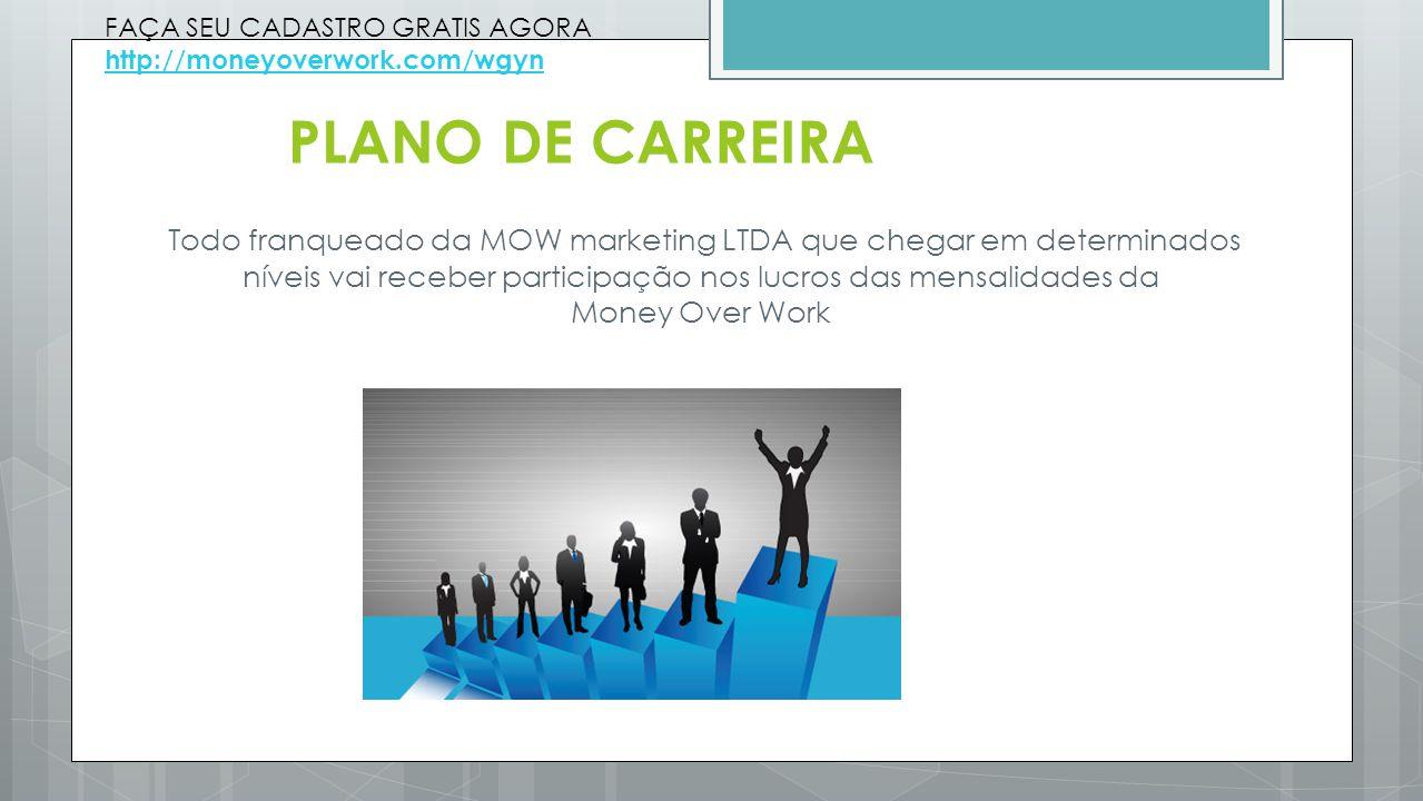 PLANO DE CARREIRA Todo franqueado da MOW marketing LTDA que chegar em determinados níveis vai receber participação nos lucros das mensalidades da Mone