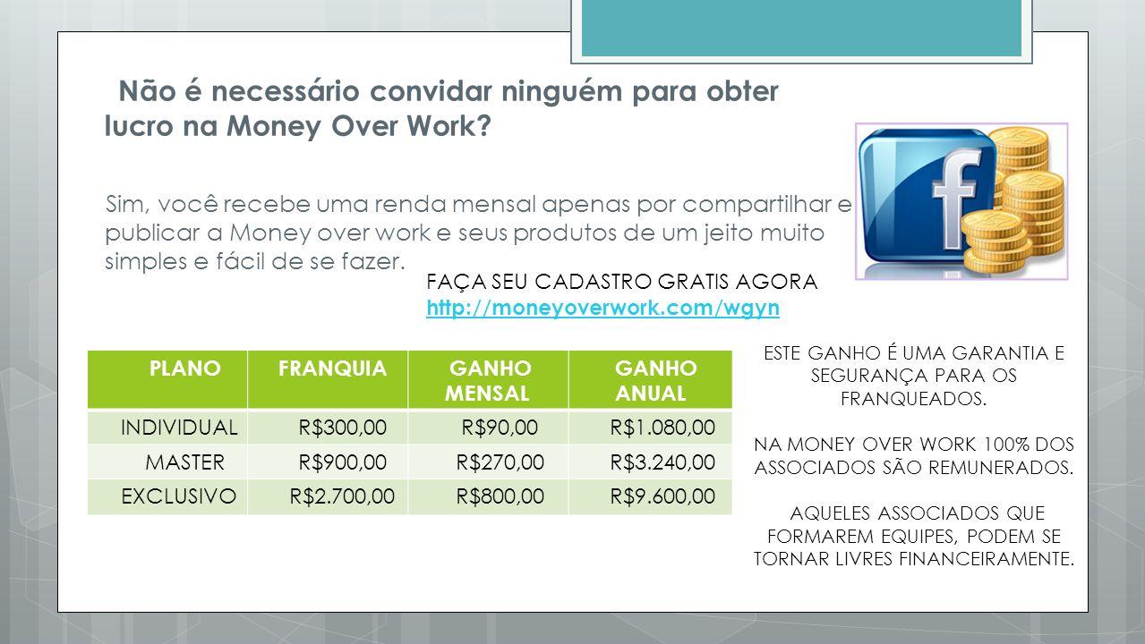 Não é necessário convidar ninguém para obter lucro na Money Over Work? Sim, você recebe uma renda mensal apenas por compartilhar e publicar a Money ov