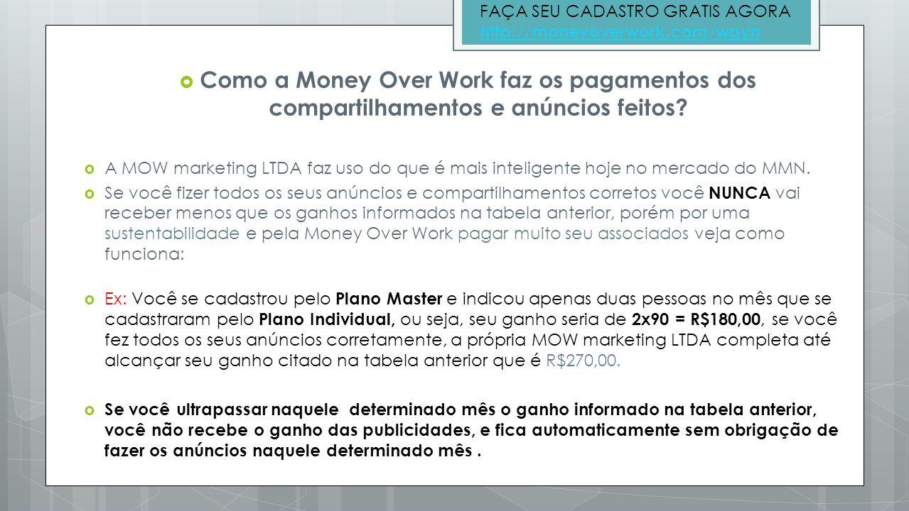Como a Money Over Work faz os pagamentos dos compartilhamentos e anúncios feitos? A MOW marketing LTDA faz uso do que é mais inteligente hoje no merca