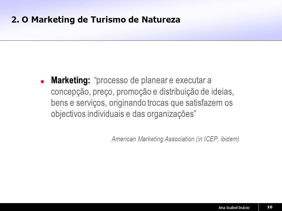 Ana Isabel Inácio 10 2. O Marketing de Turismo de Natureza Marketing: Marketing: processo de planear e executar a concepção, preço, promoção e distrib