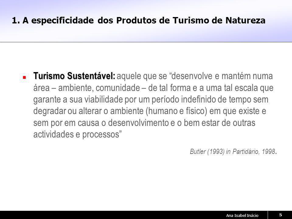 Ana Isabel Inácio 5 1. A especificidade dos Produtos de Turismo de Natureza Turismo Sustentável Turismo Sustentável: aquele que se desenvolve e mantém