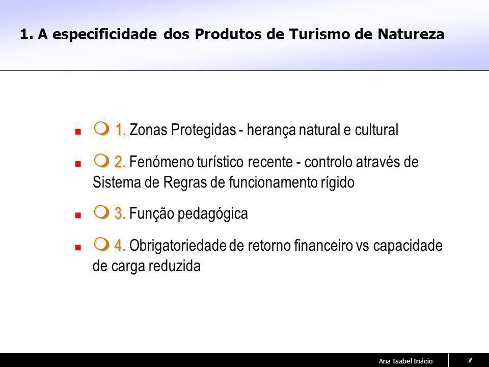 Ana Isabel Inácio 7 1. A especificidade dos Produtos de Turismo de Natureza 1. 1. Zonas Protegidas - herança natural e cultural 2. 2. Fenómeno turísti