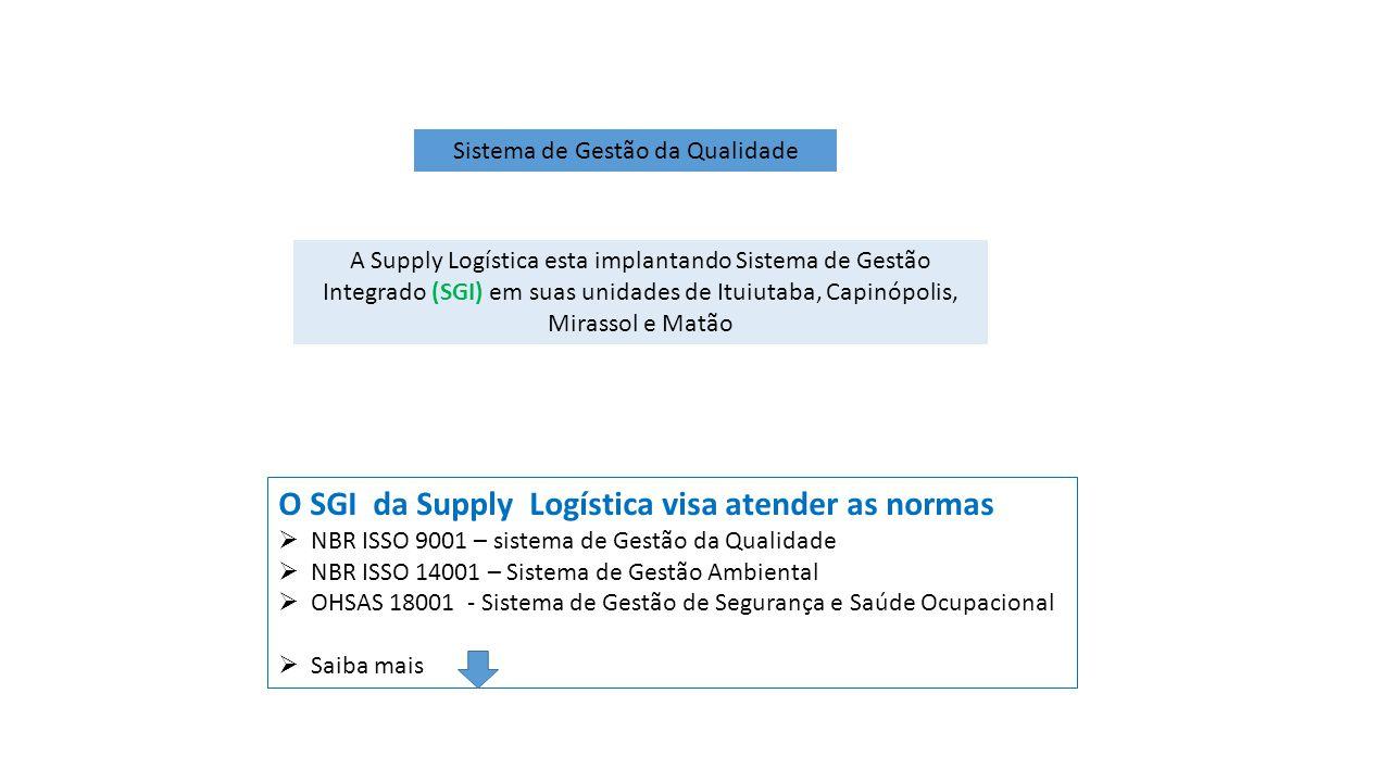 Sistema de Gestão da Qualidade A Supply Logística esta implantando Sistema de Gestão Integrado (SGI) em suas unidades de Ituiutaba, Capinópolis, Miras