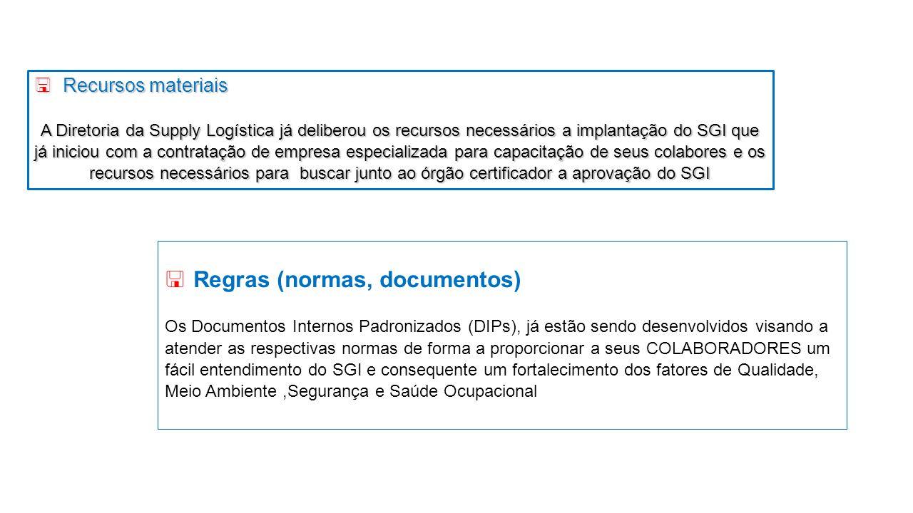 <Recursos materiais A Diretoria da Supply Logística já deliberou os recursos necessários a implantação do SGI que já iniciou com a contratação de empr