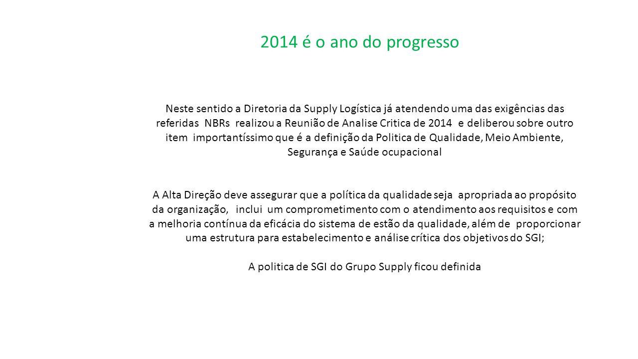 2014 é o ano do progresso Neste sentido a Diretoria da Supply Logística já atendendo uma das exigências das referidas NBRs realizou a Reunião de Anali