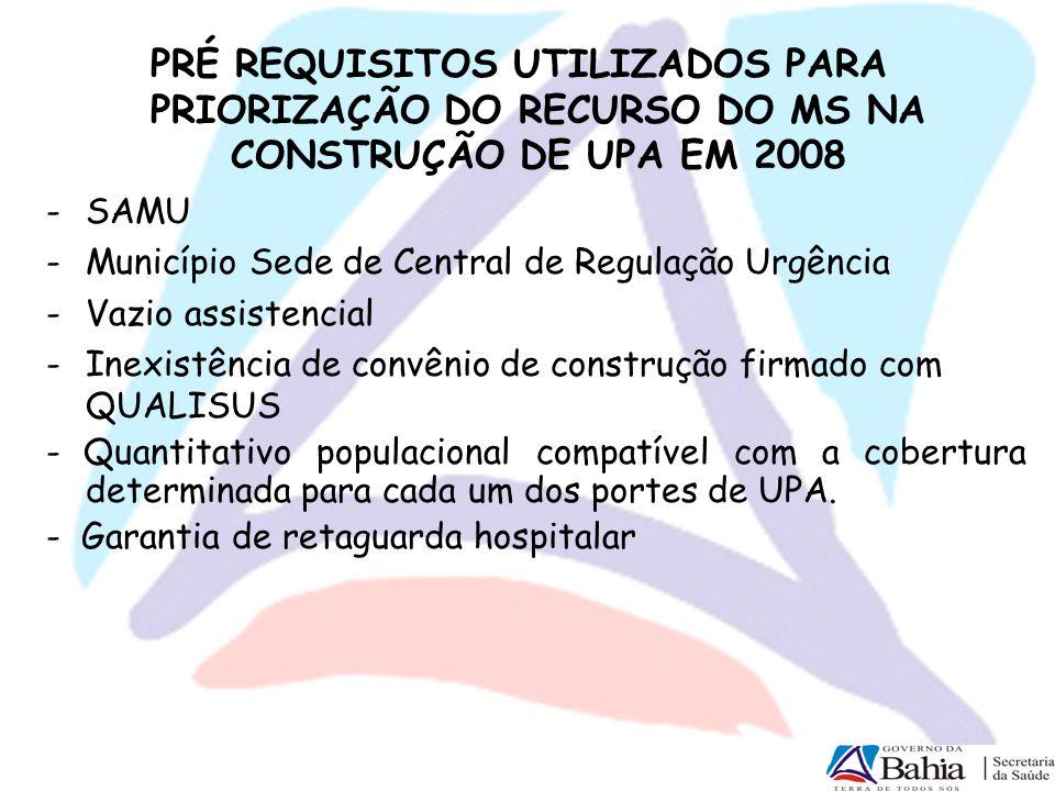 PRÉ REQUISITOS UTILIZADOS PARA PRIORIZAÇÃO DO RECURSO DO MS NA CONSTRUÇÃO DE UPA EM 2008 -SAMU -Município Sede de Central de Regulação Urgência -Vazio