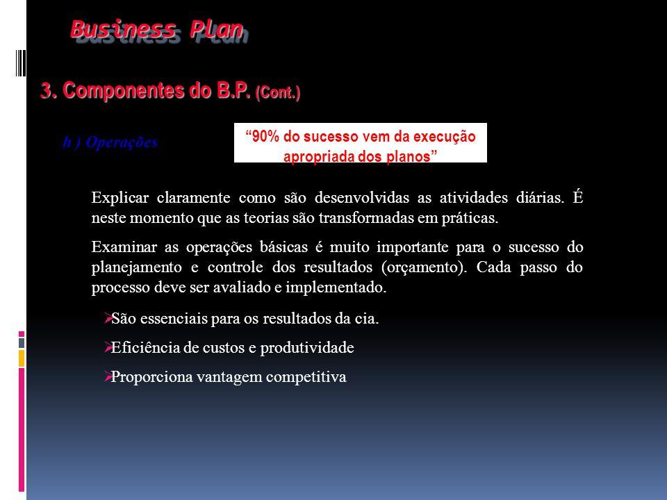 Business Plan Business Plan 3. Componentes do B.P. (Cont.) 3. Componentes do B.P. (Cont.) h ) Operações Explicar claramente como são desenvolvidas as
