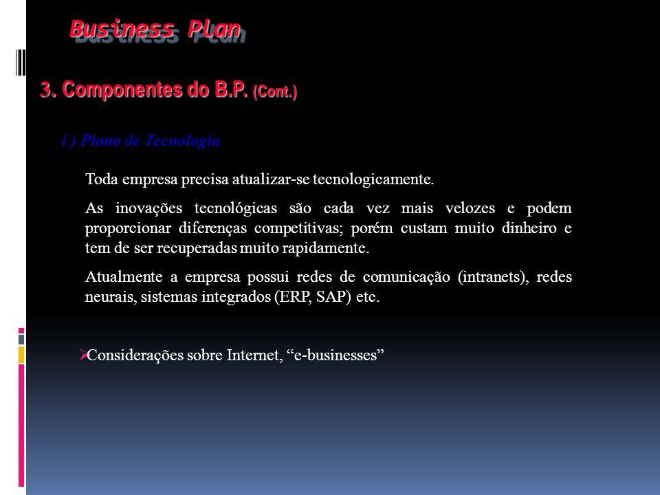 Business Plan Business Plan 3. Componentes do B.P. (Cont.) 3. Componentes do B.P. (Cont.) i ) Plano de Tecnologia Toda empresa precisa atualizar-se te