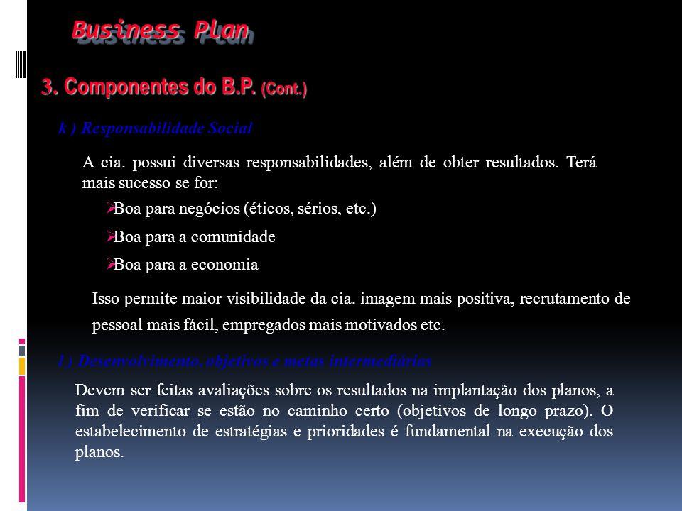 Business Plan Business Plan 3. Componentes do B.P. (Cont.) 3. Componentes do B.P. (Cont.) k ) Responsabilidade Social A cia. possui diversas responsab