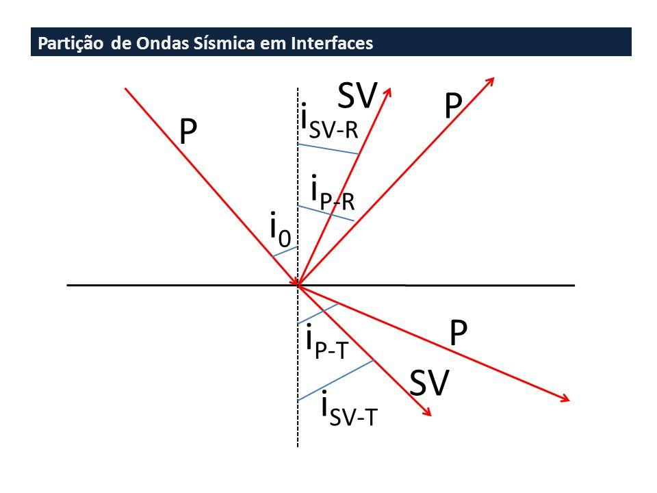 Partição de Ondas Sísmica em Interfaces P P P SV i0i0 i P-T i SV-T i SV-R i P-R