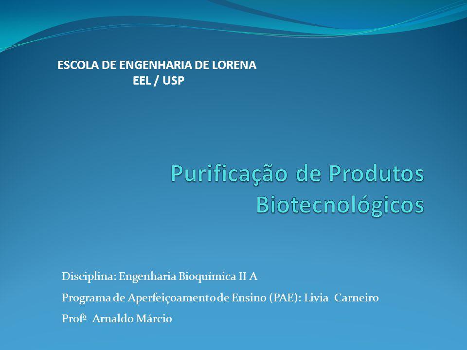 ESCOLA DE ENGENHARIA DE LORENA EEL / USP Disciplina: Engenharia Bioquímica II A Programa de Aperfeiçoamento de Ensino (PAE): Livia Carneiro Profº Arna