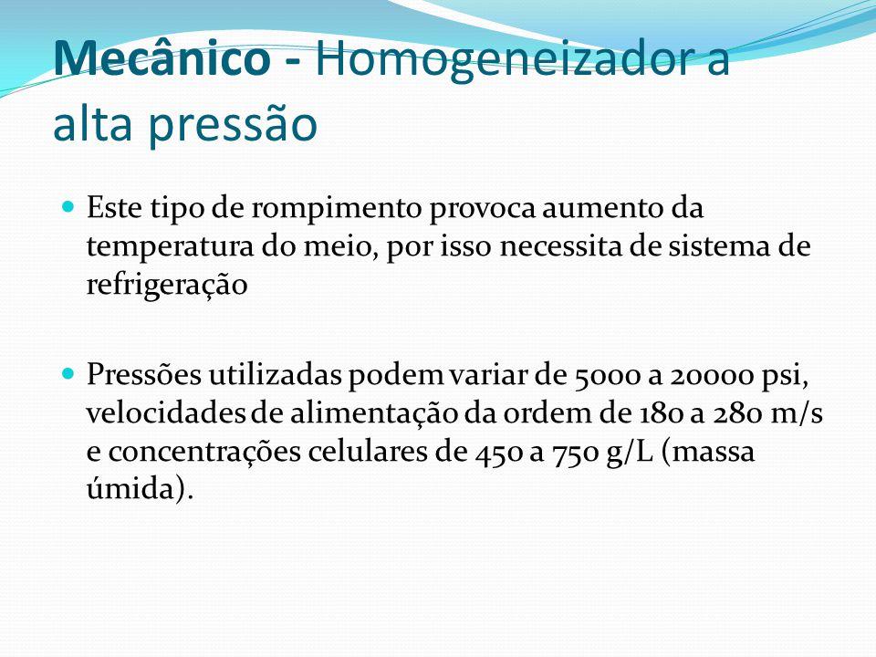 Mecânico - Homogeneizador a alta pressão O desempenho pode ser afetado por: Pressão de operação; Velocidade de alimentação; Temperatura; Estado fisiológico do microrganismo; Condições de cultivo; Tipo de célula e sua concentração.