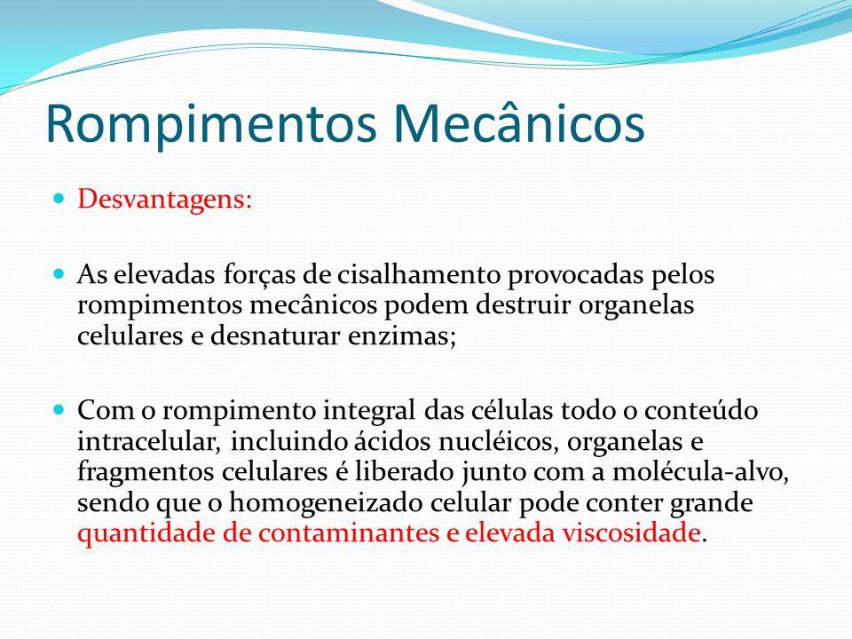Rompimentos Mecânicos Desvantagens: As elevadas forças de cisalhamento provocadas pelos rompimentos mecânicos podem destruir organelas celulares e des