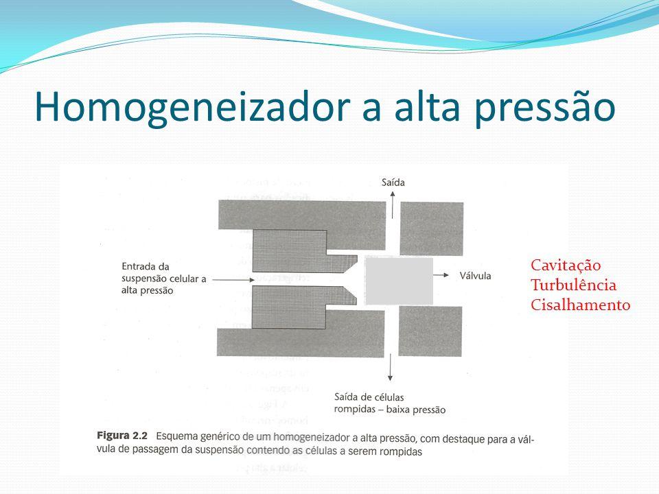 Mecânico - Homogeneizador a alta pressão Este tipo de rompimento provoca aumento da temperatura do meio, por isso necessita de sistema de refrigeração Pressões utilizadas podem variar de 5000 a 20000 psi, velocidades de alimentação da ordem de 180 a 280 m/s e concentrações celulares de 450 a 750 g/L (massa úmida).