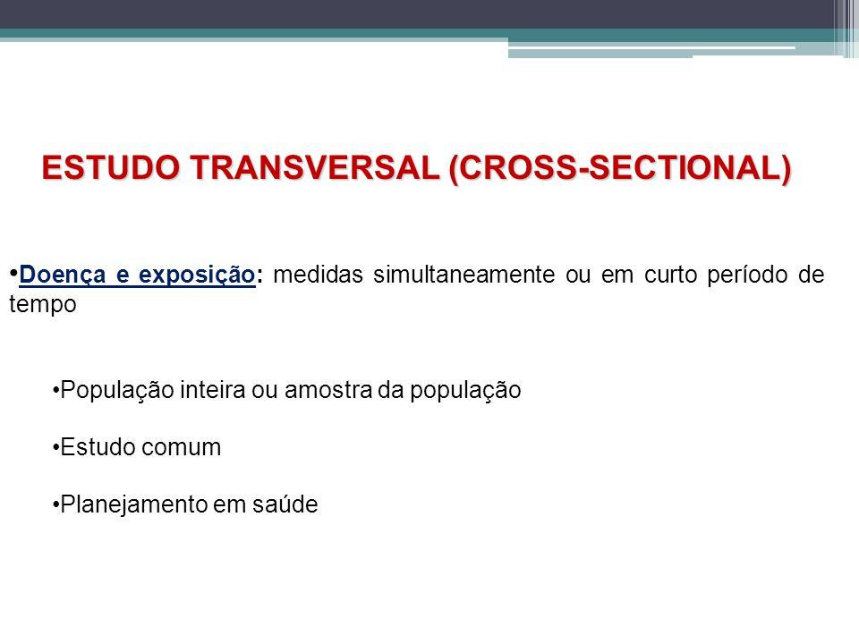 ESTUDO TRANSVERSAL (CROSS-SECTIONAL) Doença e exposição: medidas simultaneamente ou em curto período de tempo População inteira ou amostra da população Estudo comum Planejamento em saúde