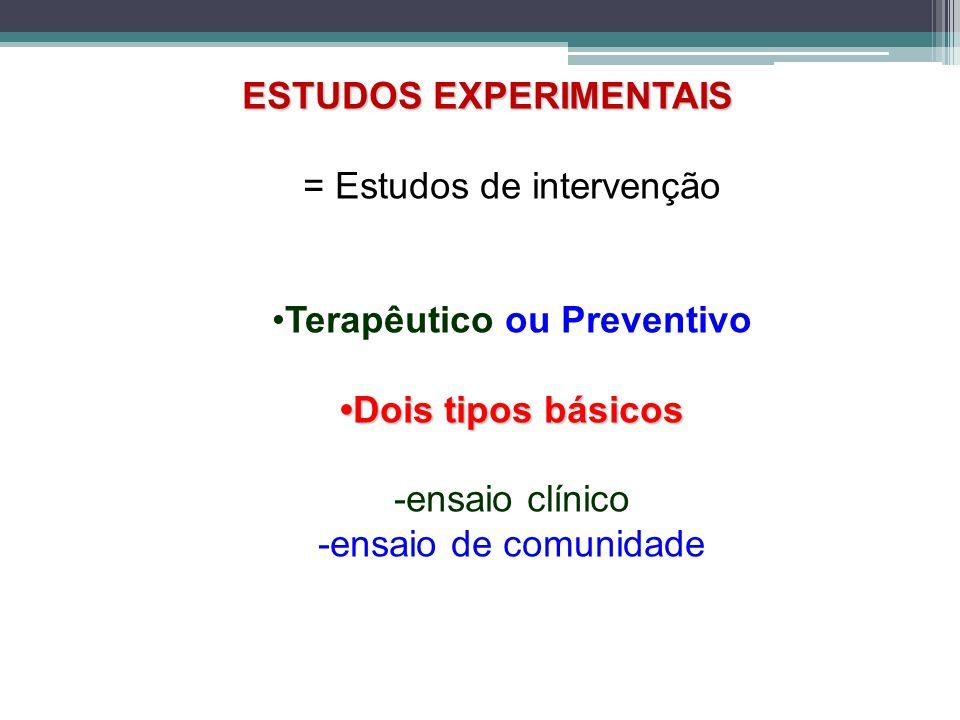 ESTUDOS EXPERIMENTAIS = Estudos de intervenção Terapêutico ou Preventivo Dois tipos básicos -ensaio clínico -ensaio de comunidade