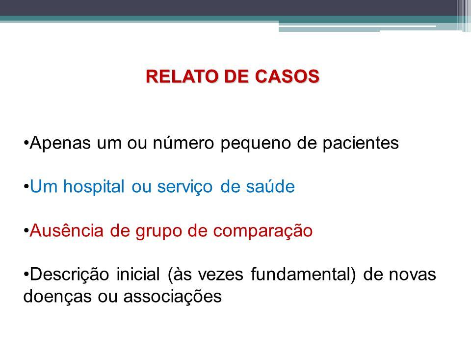 RELATO DE CASOS Apenas um ou número pequeno de pacientes Um hospital ou serviço de saúde Ausência de grupo de comparação Descrição inicial (às vezes fundamental) de novas doenças ou associações
