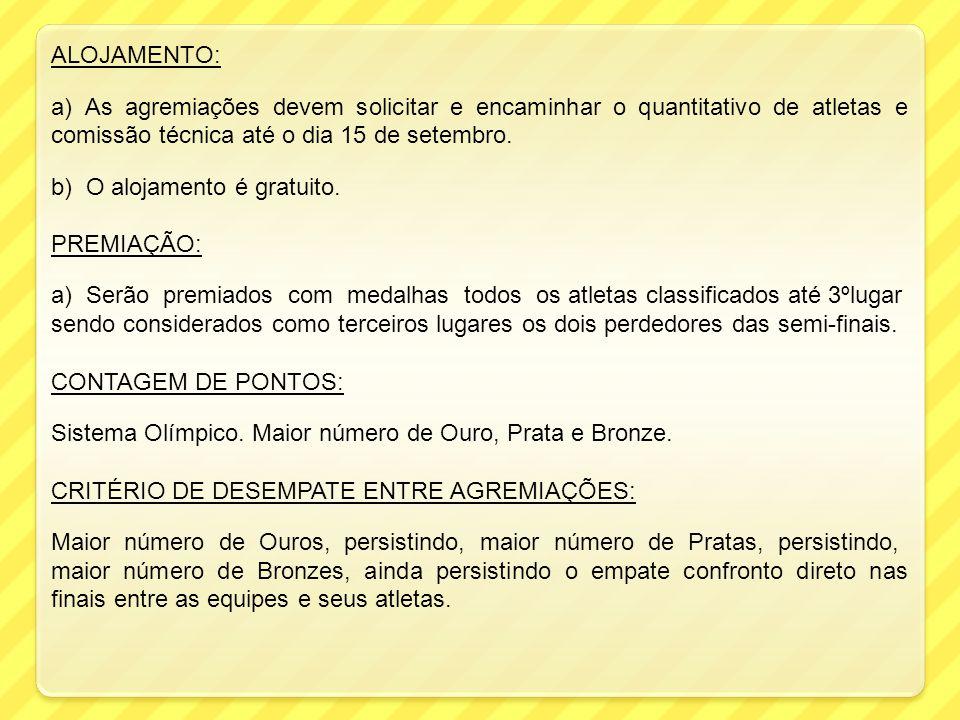 ALOJAMENTO: a) As agremiações devem solicitar e encaminhar o quantitativo de atletas e comissão técnica até o dia 15 de setembro. b) O alojamento é gr