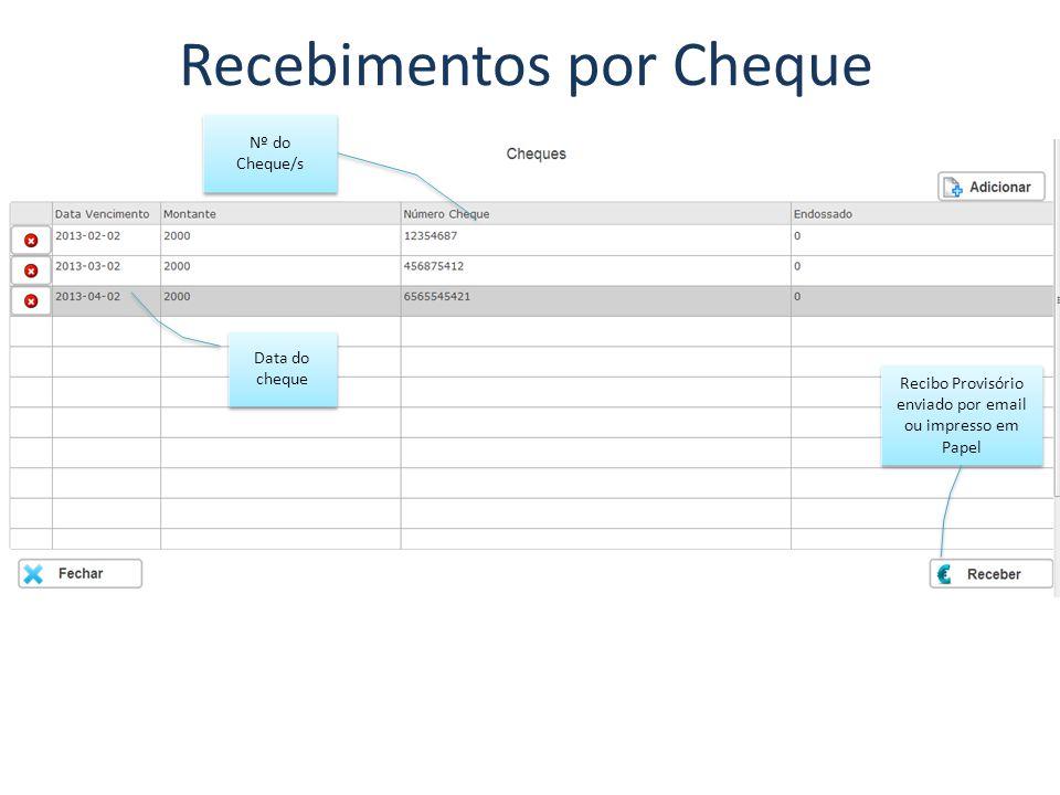 Recebimentos por Cheque Data do cheque Recibo Provisório enviado por email ou impresso em Papel Nº do Cheque/s