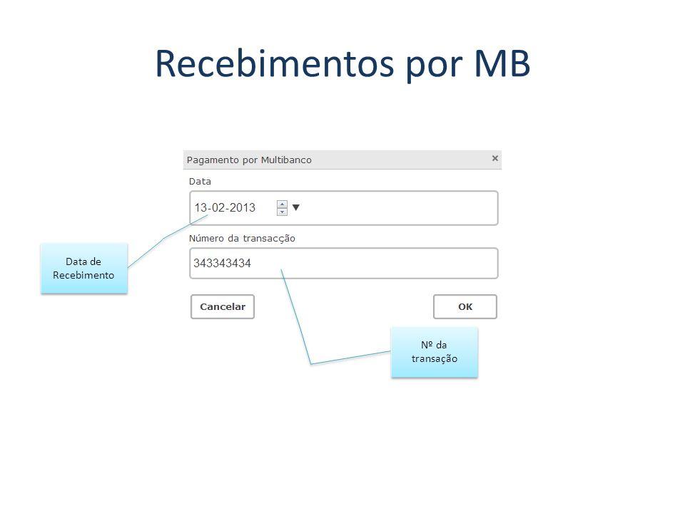 Recebimentos por MB Data de Recebimento Nº da transação