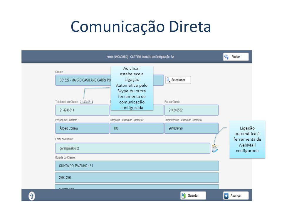Comunicação Direta Ao clicar estabelece a Ligação Automática pelo Skype ou outra ferramenta de comunicação configurada Ligação automática à ferramenta de WebMail configurada