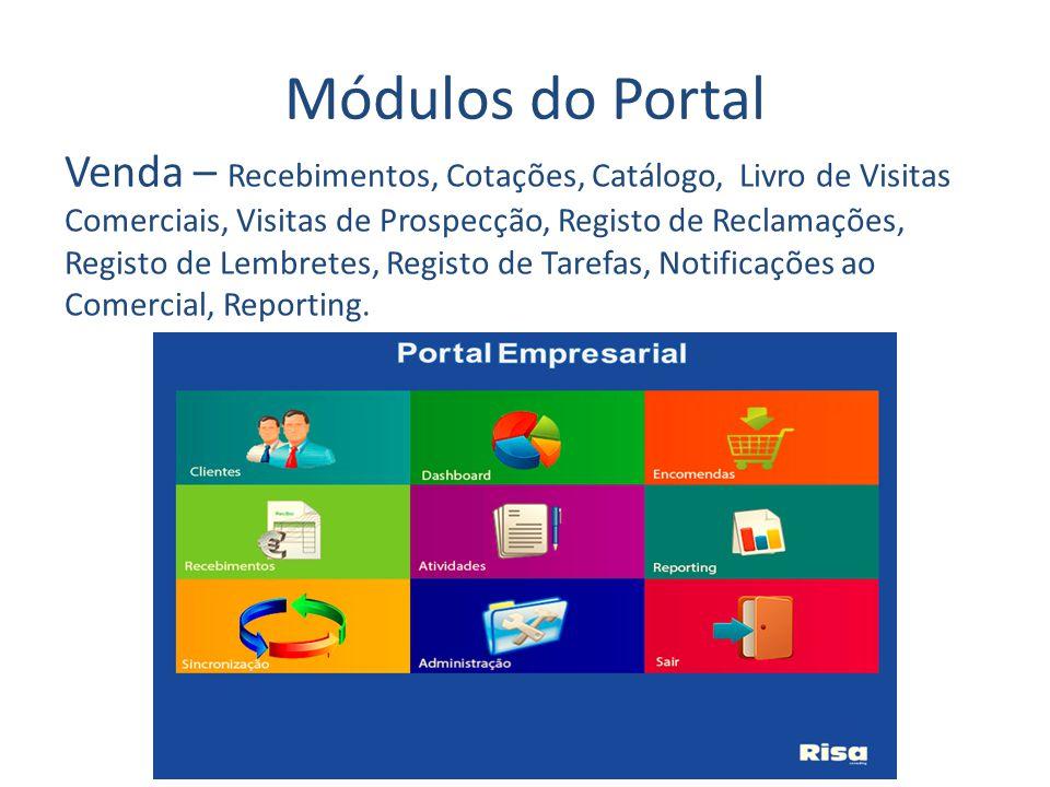 Módulos do Portal Venda – Recebimentos, Cotações, Catálogo, Livro de Visitas Comerciais, Visitas de Prospecção, Registo de Reclamações, Registo de Lembretes, Registo de Tarefas, Notificações ao Comercial, Reporting.
