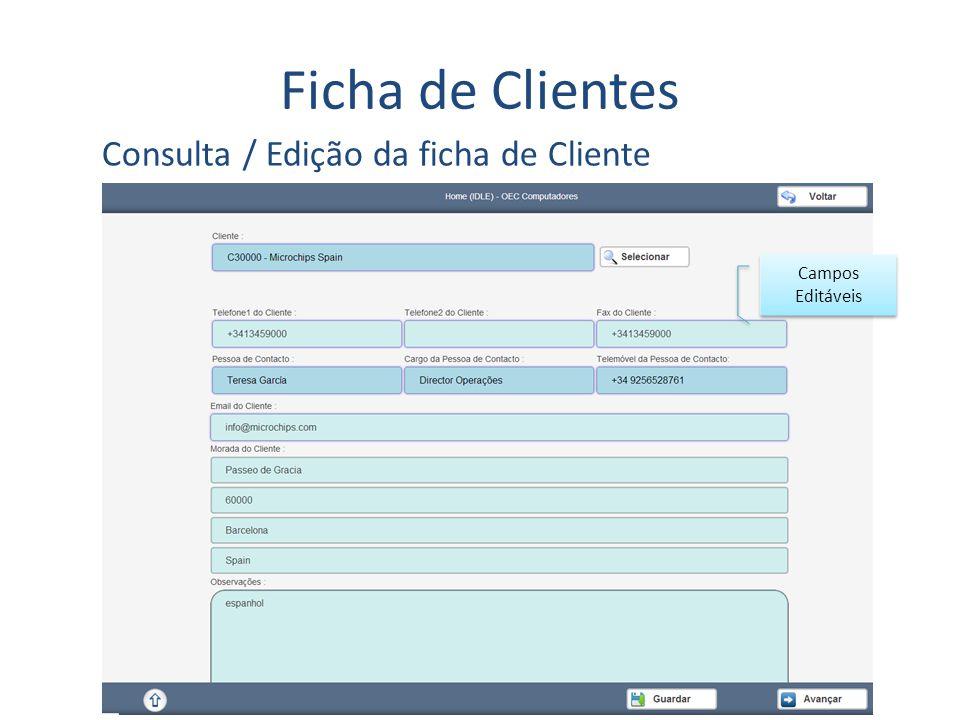 Ficha de Clientes Consulta / Edição da ficha de Cliente Campos Editáveis