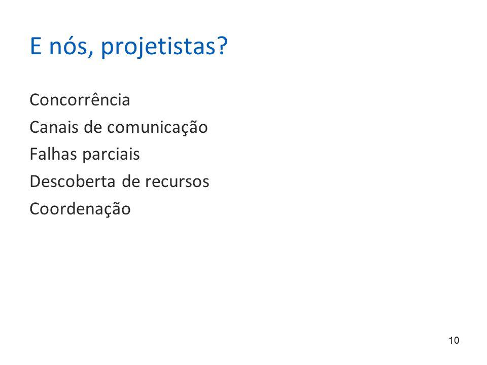 10 E nós, projetistas? Concorrência Canais de comunicação Falhas parciais Descoberta de recursos Coordenação