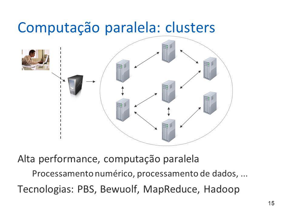 15 Computação paralela: clusters Alta performance, computação paralela Processamento numérico, processamento de dados,... Tecnologias: PBS, Bewuolf, M