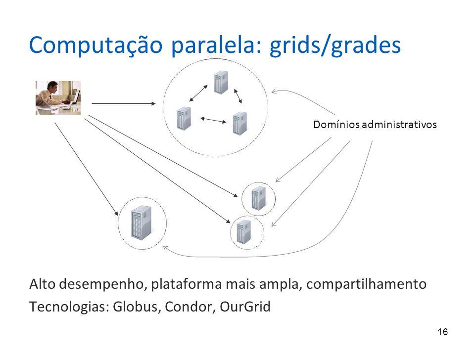 16 Computação paralela: grids/grades Alto desempenho, plataforma mais ampla, compartilhamento Tecnologias: Globus, Condor, OurGrid Domínios administra