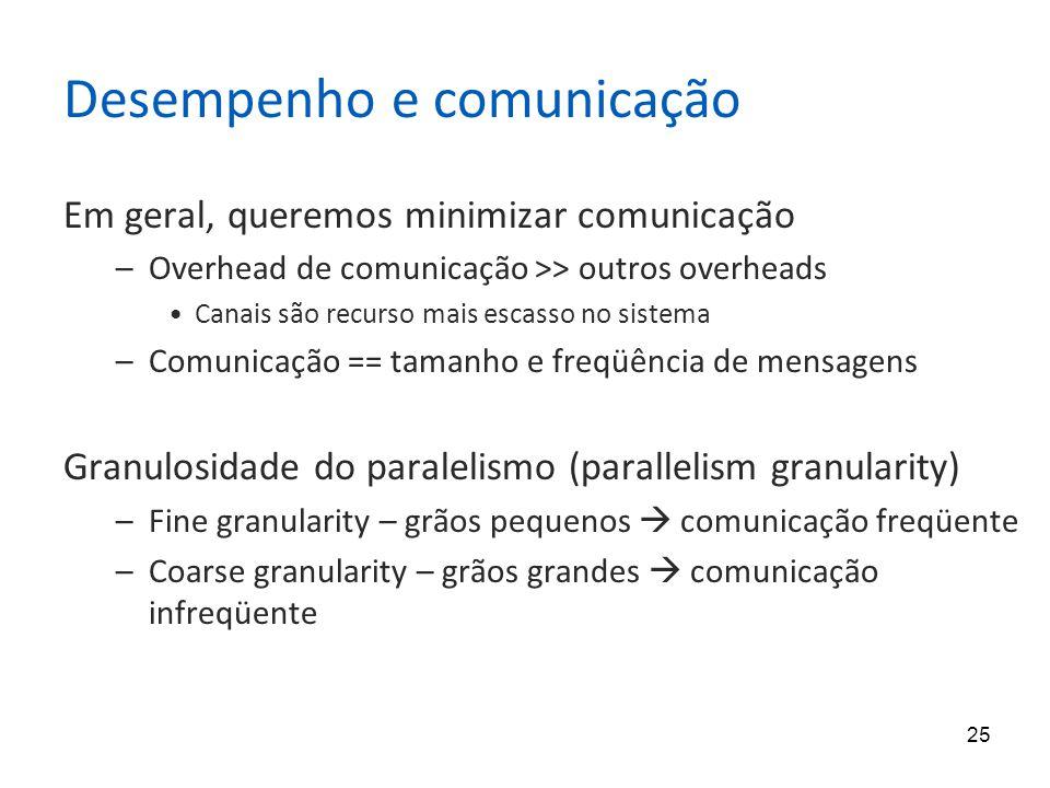 25 Desempenho e comunicação Em geral, queremos minimizar comunicação –Overhead de comunicação >> outros overheads Canais são recurso mais escasso no s